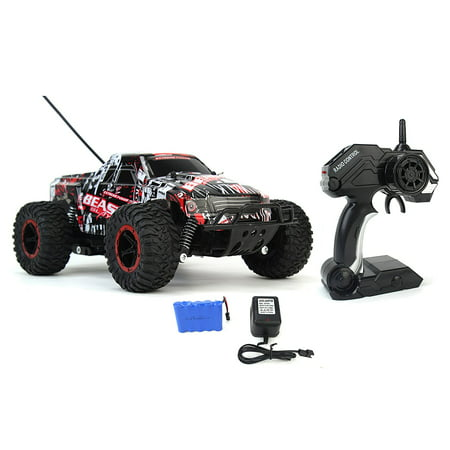 Cheetah King Remote Control Toy RC Rally Truck Car 2.4 GHz 1:16 Scale Size w/ Working Suspension, Spring Shock Absorbers
