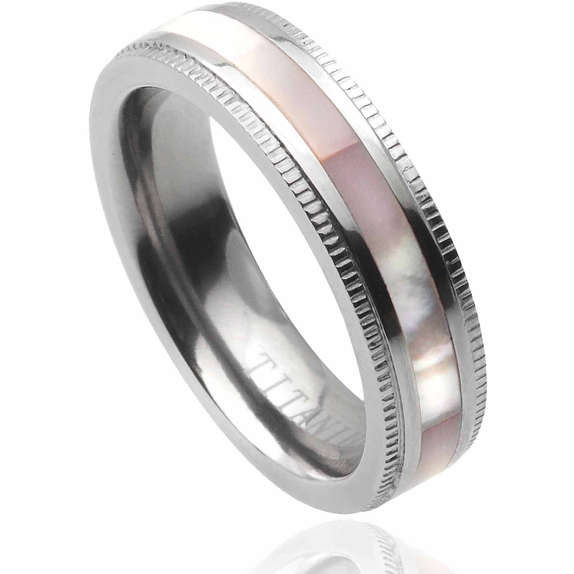 Brinley Co. Women's Abalone Inlay Titanium Fashion Ring, 5mm