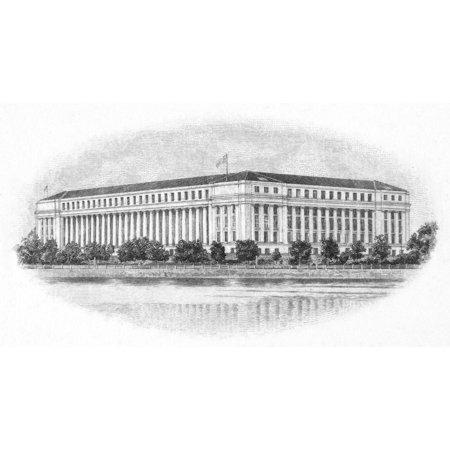Bureau Of Engraving Nthe Bureau Of Engraving And Printing In Washington DC Steel Engraving 20Th Century Rolled Canvas Art -  (24 x 36) Bureau Engraving Washington Dc