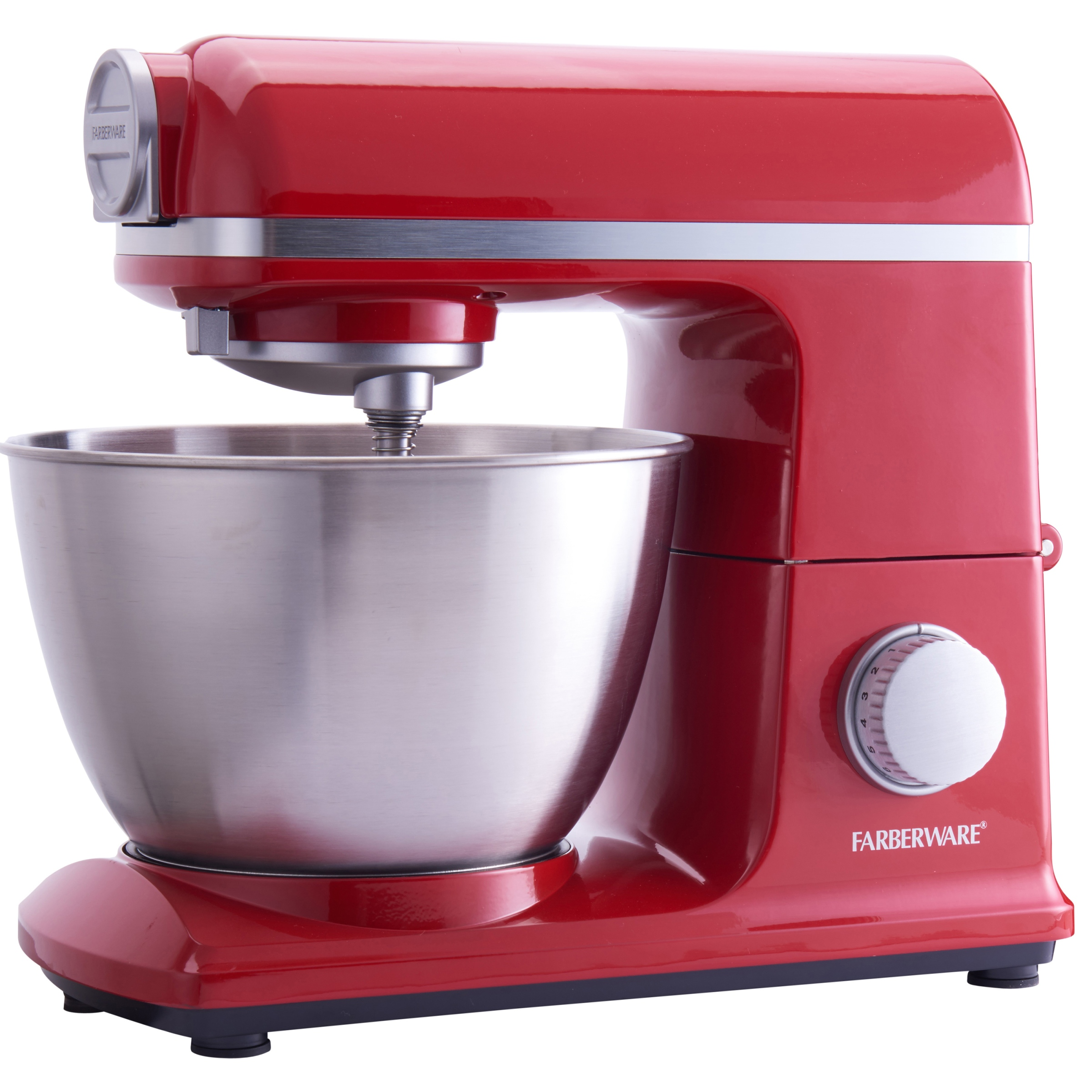 Farberware 6 Speed 4.7-Quart Professional Stand Mixer, Red