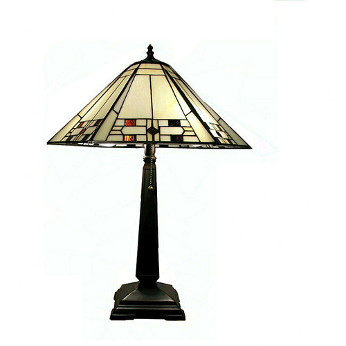 Warehouse of Tiffany Mission Square-Shaped Base Design 23'' H Table Lamp with Empire Shade