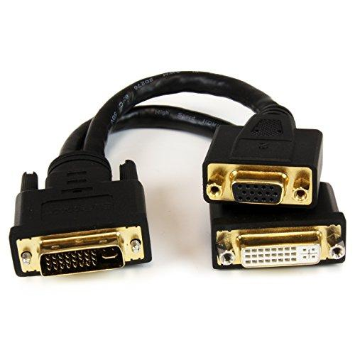 "Startech.com 8in Dvi-i Male To Dvi-d Male And Hd15 Vga Male Wyse Dvi Splitter Cable - Dvi/vga For Video Device, Monitor, Projector - 8"" - 1 Pack - 1 X Dvi-i Male Video - 1 X Dvi-d Male (dvi92030202l)"
