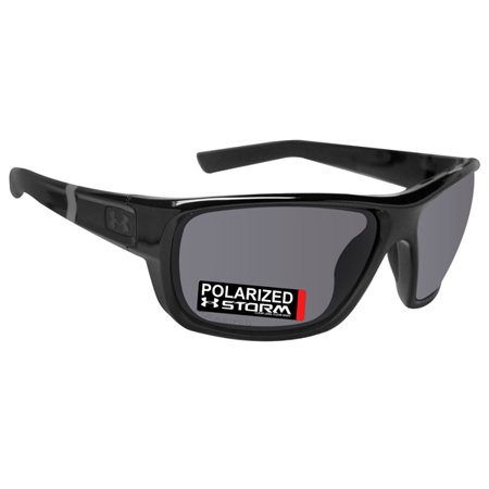Under Armour 8630098-000108 launch shiny black rubber frame gray storm polarized lens