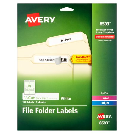 Avery White File Folder Labels  5 Sheets  150 Count