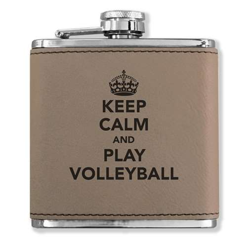 Faux Leather Flask - Keep Calm and Play Volleyball - Light Brown