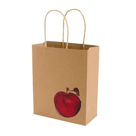 Fun Express - Fall Festival Apple Craft Bags for Fall - Party Supplies - Bags - Paper Gift W & Handles - Fall - 12