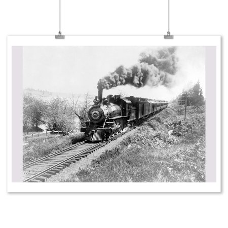 North Coast Limited Railway Train near Tillimook, OR Photograph (9x12 Art Print, Wall Decor Travel Poster)