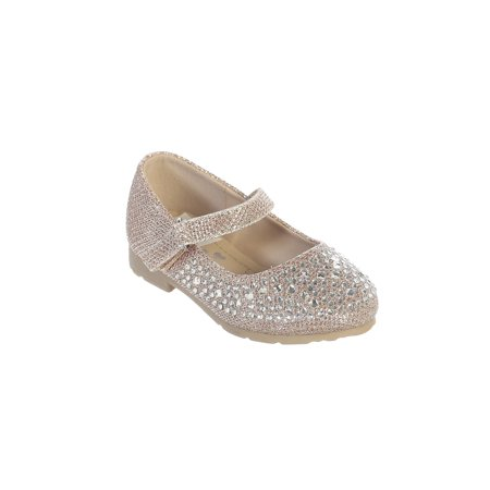 Little Girls Rose Gold Sparkle Rhinestone Metallic Mary Jane Shoes