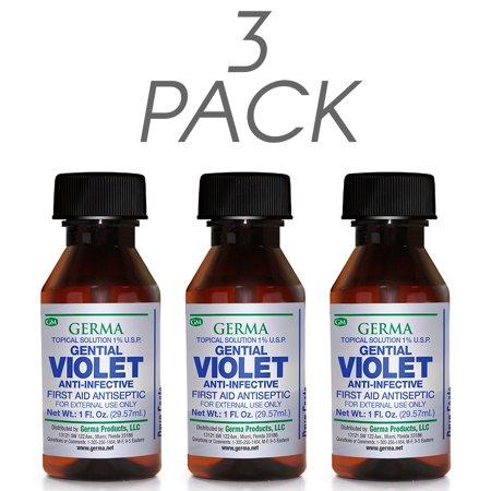 - Germa Gentian Violet, Antiseptic, Antibacterial, Abrasions / Violeta Cristal, Antiseptico , Antibacterial, Abrasiones - 1oz. Pack of 3