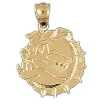 14K Yellow Gold Bulldog Pendant   23 Mm
