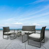 Zimtown 4PCS Patio PE Rattan Wicker Table Sofa Furniture Set Outdoor Garden with Cushions
