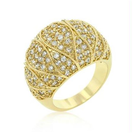 Clear Crystal Cocktail Ring - Goldeneye Clear CZ Cocktail Ring, Size : 09