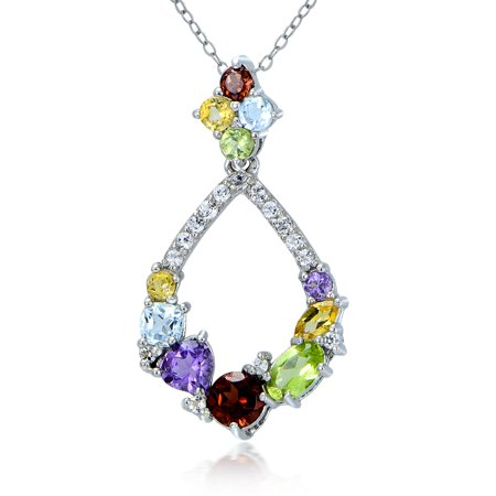 Sterling Silver Multi Color Gemstones Teardrop Cluster Necklace