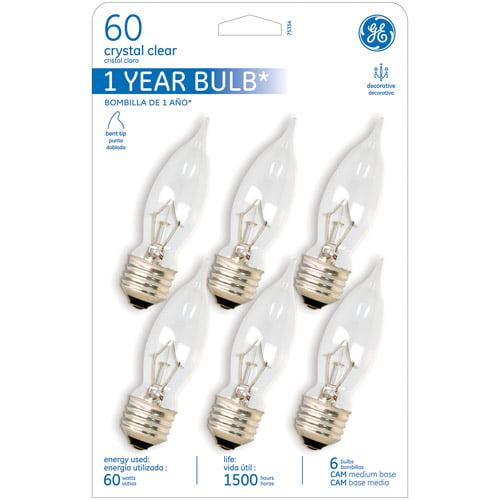 GE Reg Base Bent tip 60wt Deco - 30 bulbs