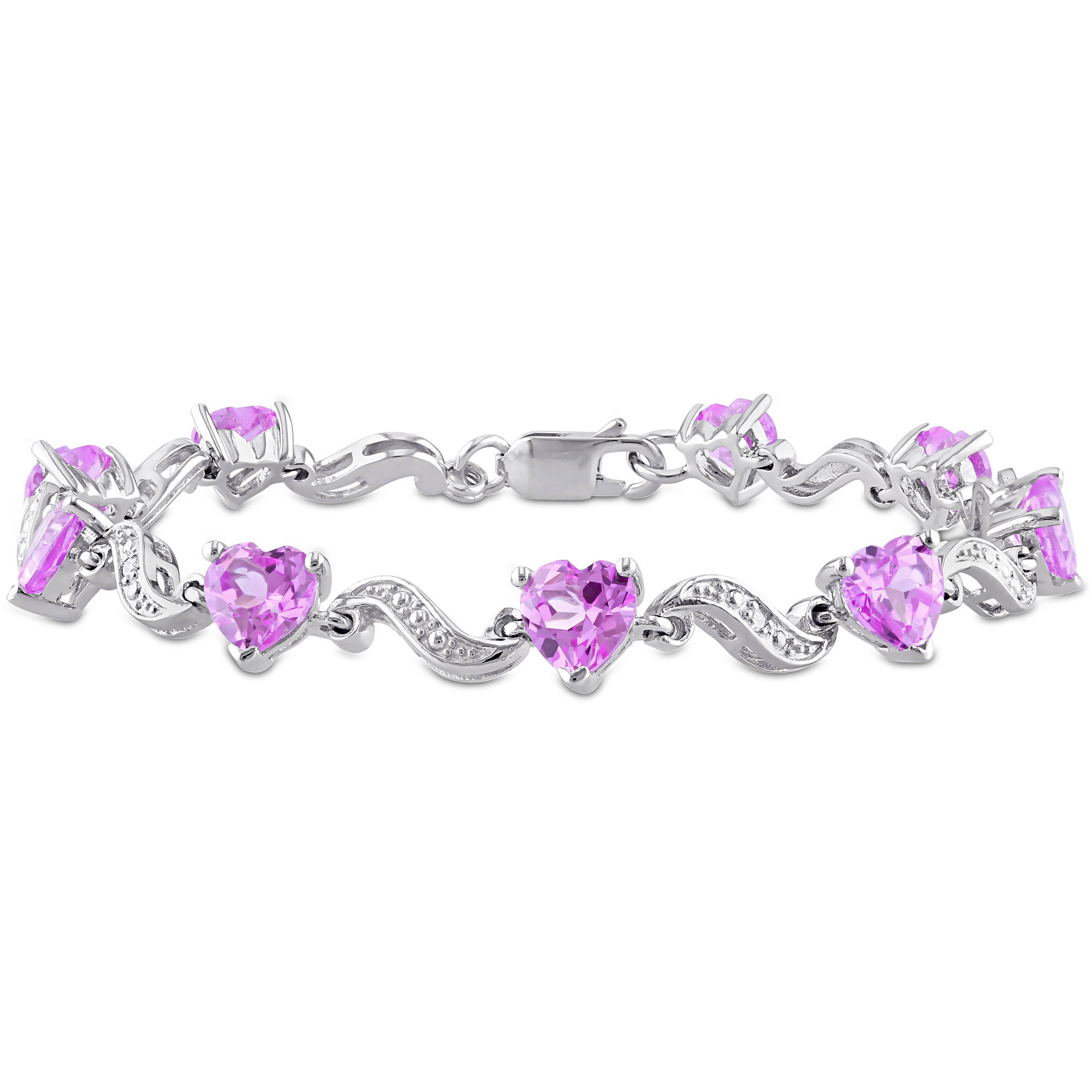 "8-4 5 Carat T.G.W. Created Pink Sapphire and Diamond-Accent Sterling Silver Heart Bracelet, 7"" by Delmar Manufacturing LLC"
