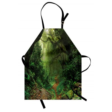 - Rainforest Apron Forest in Nepal Touristic Trekking Branches Misty Road Fresh Air Outdoors Theme, Unisex Kitchen Bib Apron with Adjustable Neck for Cooking Baking Gardening, Green Brown, by Ambesonne