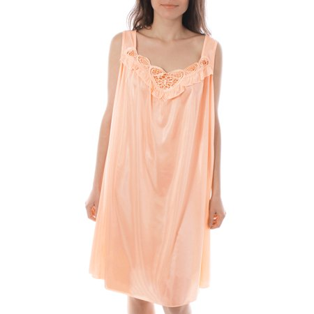 Embroidered Satin Gown (Venice Womens' Silky Looking Embroidered Nightgown 06 4X-Large)