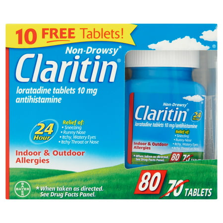 Claritin 24 Hr Non-Drowsy Allergy Relief Tablets 10 mg, 80 Ct (Claritin Tablets)