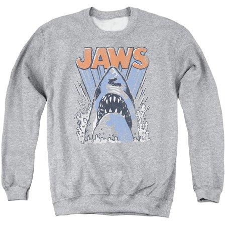 Jaws 1970s Thriller Movie Vintage Shark Teeth Splash Logo Adult Crew