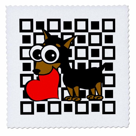 3dRose Miniature Pinscher Has My Heart - Quilt Square, 10 by 10-inch