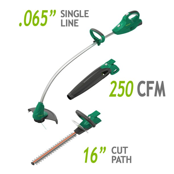 Weed Eater 20-Volt Cordless 3-in-1 Interchangeable String Trimmer, Blower, Hedge Trimmer, BT301i (2.5Ah Battery Included)