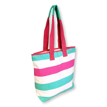 101 BEACH Zipper Top Eco Friendly Cotton Stripe Beach Tote Bag - Custom Personalization Available (Turquoise - Natural - Pink)](Custom Totes)