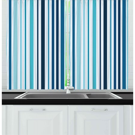Abstract Curtains 2 Panels Set, Vertical Striped Pastel Toned Color Bands Lines Background Nautical Design, Window Drapes for Living Room Bedroom, 55W X 39L Inches, Sky and Dark Blue, by Ambesonne ()