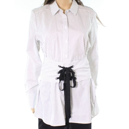 (Jolt NEW White Womens Size Medium M Pinstriped Corset Button Down Shirt)