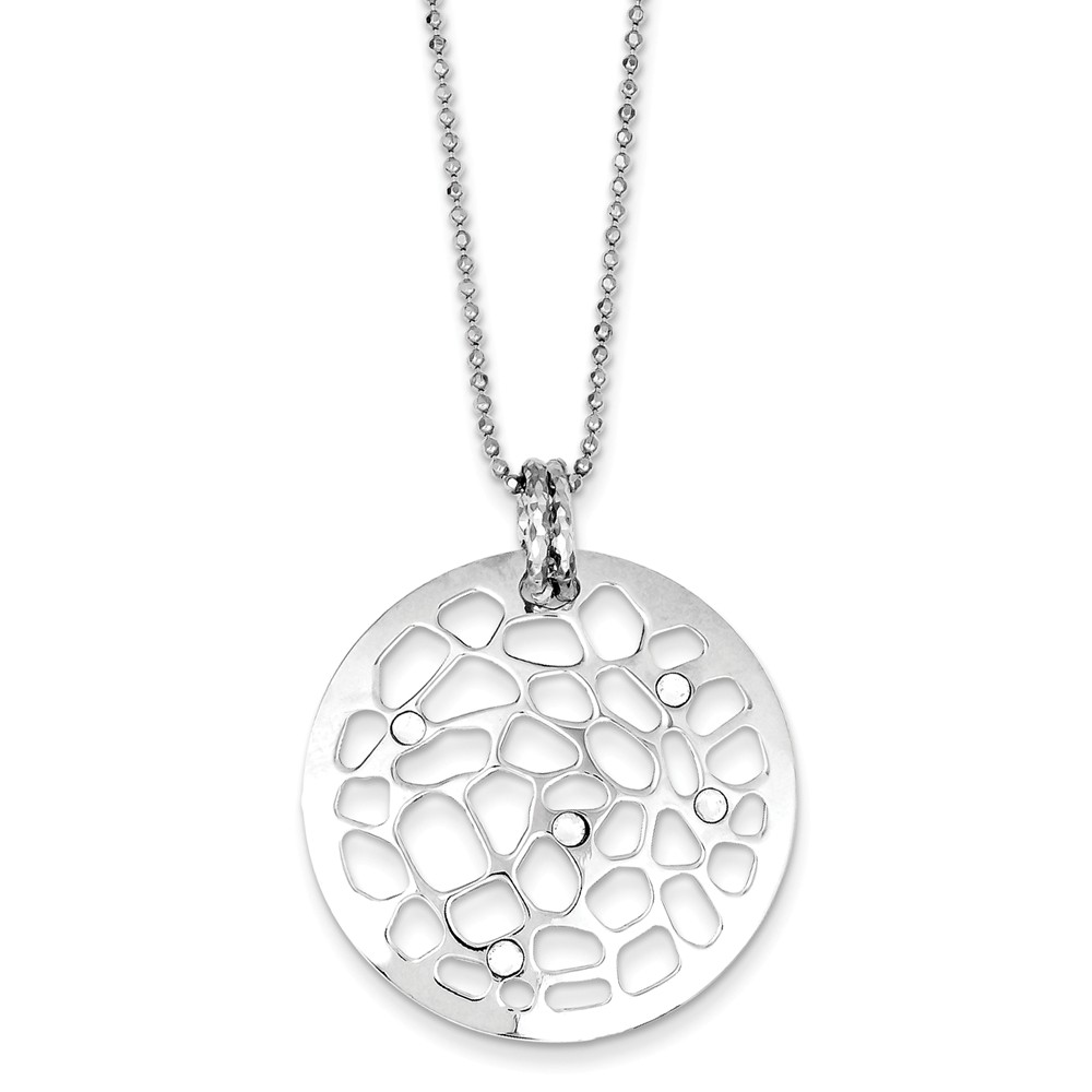 Sterling Silver Rhodium Plated 16in Disc with Crystals & 2in ext. Necklace