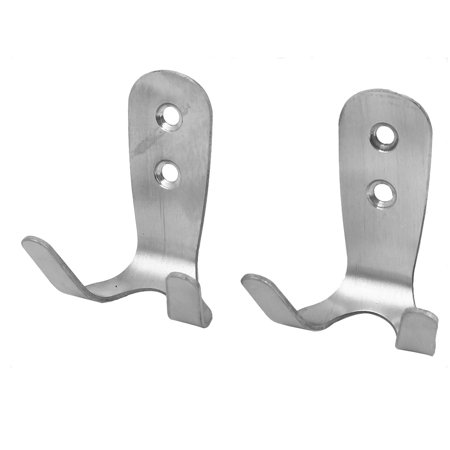 Bathroom Kitchen Wall Screw Fixing Double Hook Hanger Silver Tone 2pcs - image 1 of 2