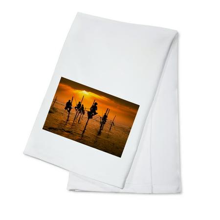 - Stick Fisherman at Sunset - Lantern Press Photography (100% Cotton Kitchen Towel)