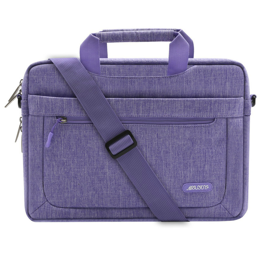 Mosiso Polyester Messenger Laptop Shoulder Bag for 11.6-13.3 Inch MacBook Air, MacBook Pro, Notebook Computer, Protective Briefcase Carrying Case with Adjustable Depth at Bottom, Purple