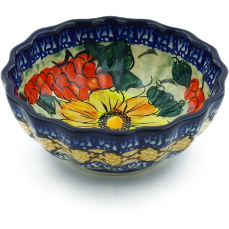 Polish Pottery 5-inch Fluted Bowl (Colorful Bouquet Theme) Signature UNIKAT Hand Painted in Boleslawiec, Poland + Certificate of Authenticity
