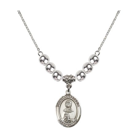 - 18-Inch Rhodium Plated Necklace with 6mm Sterling Silver Beads and Saint Anastasia Charm