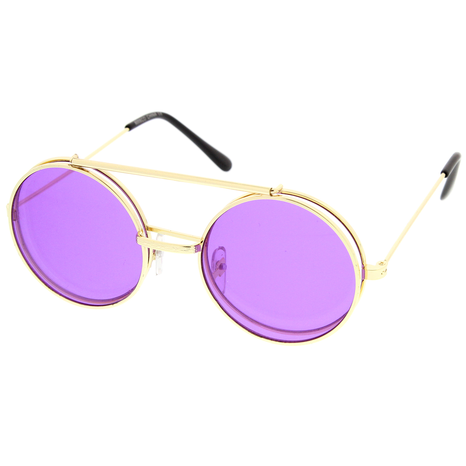 8a31e9bbde3 sunglassLA - Mid Size Flip-Up Colored Lens Round Django Sunglasses 49mm -  Walmart.com