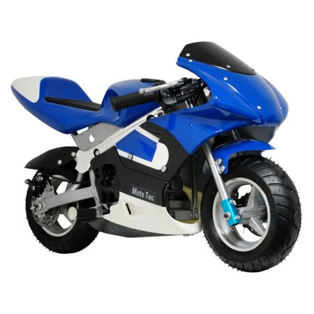 MotoTec 33cc 2-Stroke Gas Powered Pocket Bike Mini Motorcycle Blue