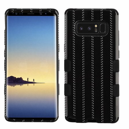 Insten Tuff Striped Suit Dual Layer Hybrid PC/TPU Rubber Case Cover for Samsung Galaxy Note 8 - Black (Bundle with USB Type C Cable)