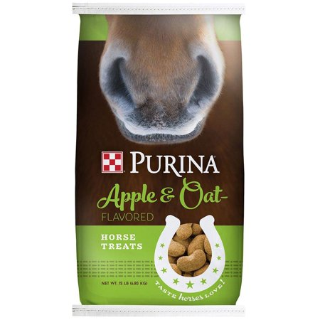 Feed Flavor (Apple and Oat Flavored Horse Treats, 15 lb Bag, Easy to feed, easy to eat By Purina )