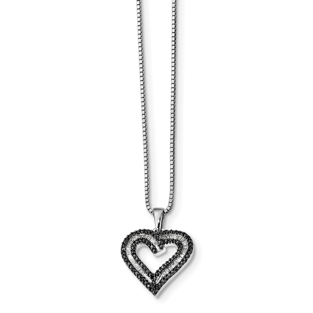 925 Sterling Silver (0.337cttw) Black and White Diamond Heart Pendant Necklace (20mm x 17mm) by