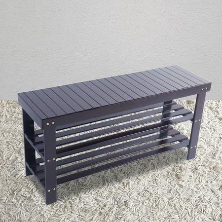 3-Tier Entryway Bench, URHOMEPRO Damp-proof Bamboo Shoe Rack Bench, Sturdy Shoe Rack Organizer w/ Seat, Door Shoe Rack for Cubby Closet, Wardrobe, Cabinet, Garage, Entrance, 35