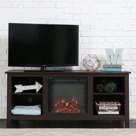 WE Furniture Media Console with Electric Fireplace in Espresso