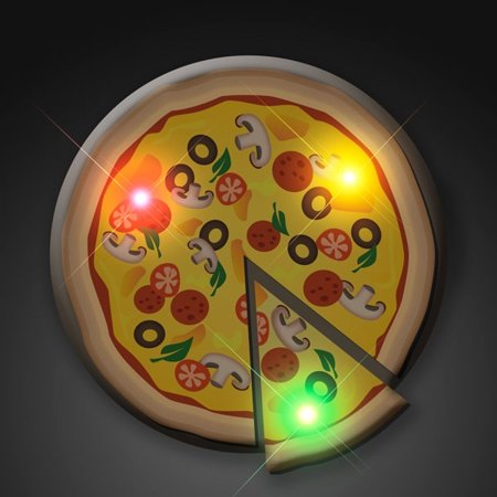 Pizza Flashing Body Light Lapel Pin Party Favors by - Halloween Pizza Party Ideas