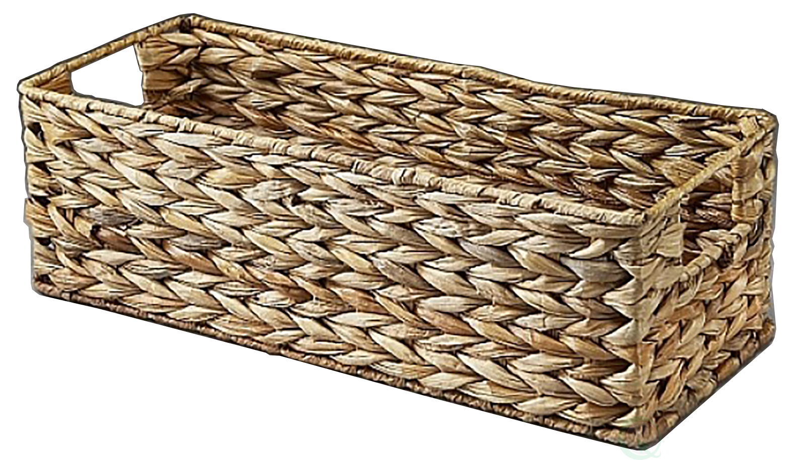 Woven Rectangular Storage Basket With Cut Out Handles