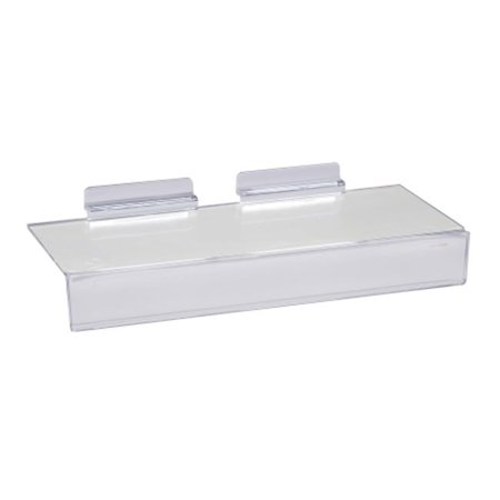 4 in. x 10 in. Injection Molded Styrene Clear Shoe Shelf for Slatwall with 1 in. H Sign Slot (Pack of 100)