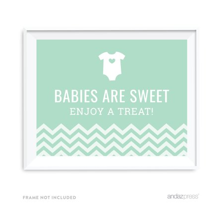 Babies Are Sweet, Enjoy A Treat Mint Green Chevron Print Baby Shower Party Signs
