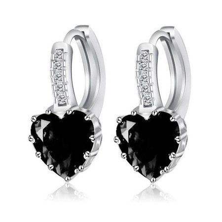 CLEARANCE - Heart Shaped Black Diamond CZ Solitaire Hoop Earrings Black
