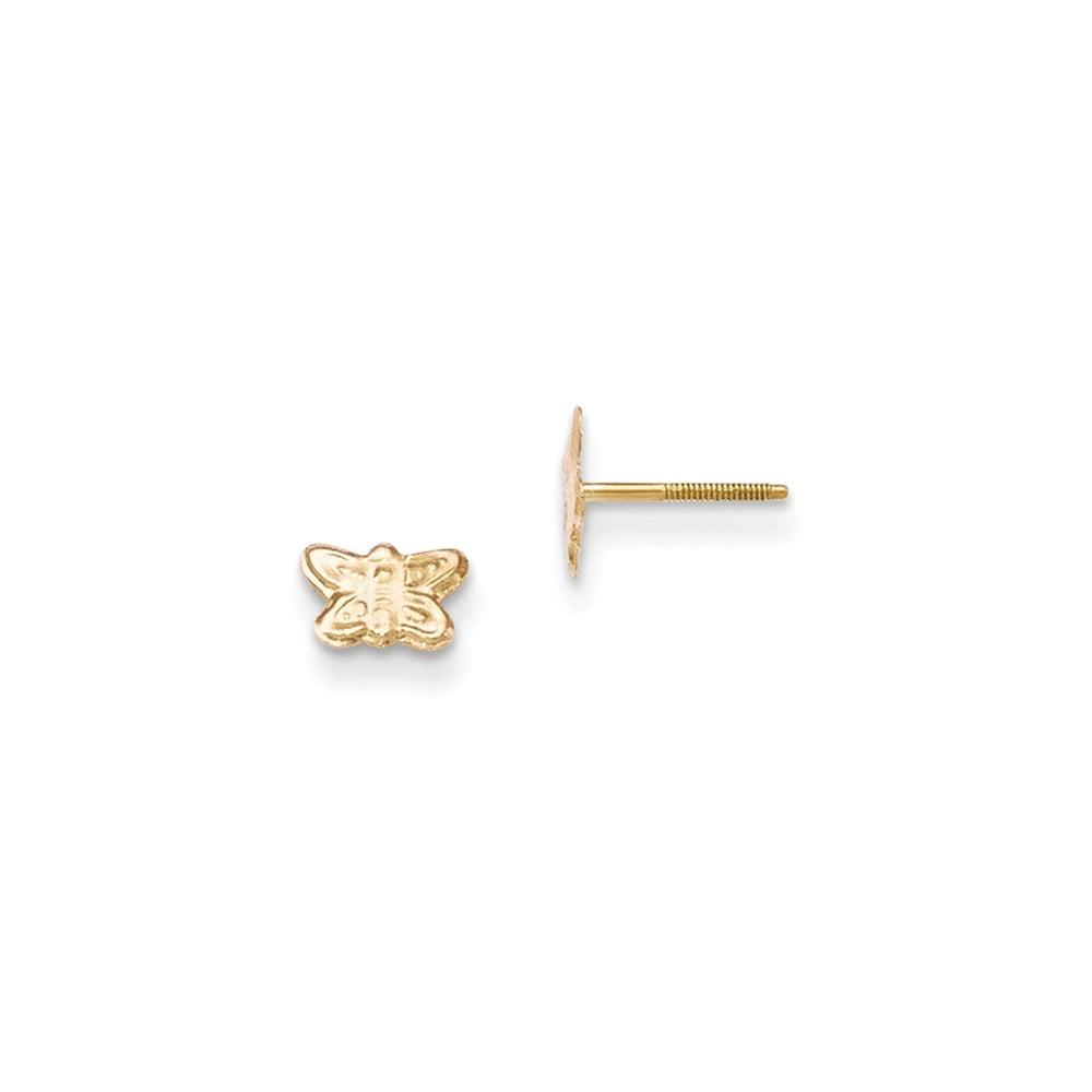 14k Yellow Gold Children's Butterfly Post Earrings (4MM Long x 6MM Wide)