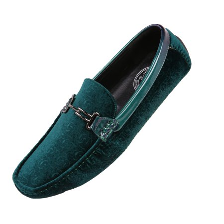 Amali Mens Velvet Roberto Smoking Slip-on Moccasin Loafer Green Size 9
