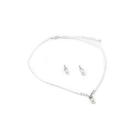 - Silver Crystal Rhinestone Pearl Drop with Silver Ends Dangle Earrings & White Pearl Center Piece Necklace Jewelry Set