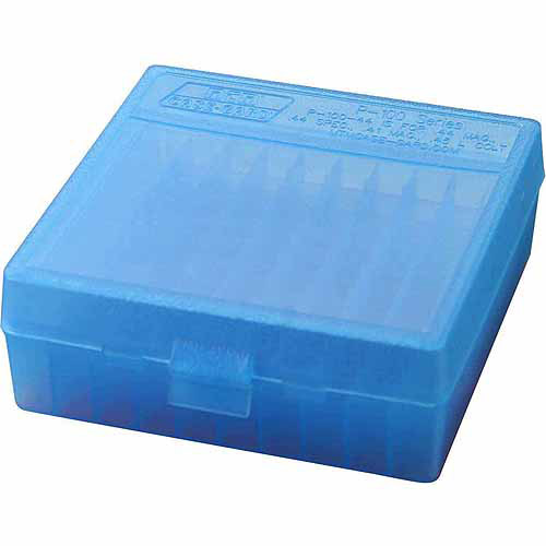 "MTM P-100 FLIP-TOP PISTOL AMMO BOX 1.85"" OAL BLUE POLY"